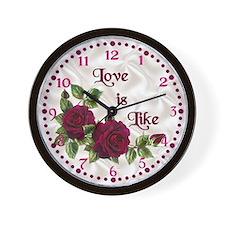 Red Velvet Rose Wall Clock