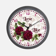 Red Velvet Rose Wall Clock