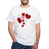 Valentines day Mens White T-shirts