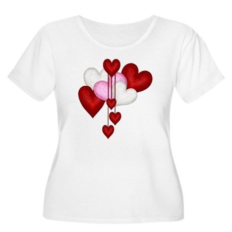 Romantic Hearts Women's Plus Size Scoop Neck T-Shi