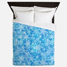 Feathery Snowflakes Queen Duvet