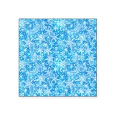 Feathery Snowflakes Square Sticker 3 x 3