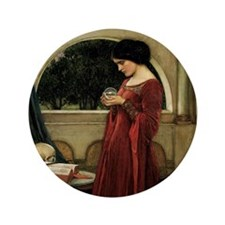 "Crystal Ball by JW Waterhouse 3.5"" Button"