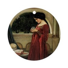 Crystal Ball by JW Waterhouse Round Ornament