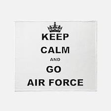 KEEP CALM AND GO AIRFORCE Throw Blanket