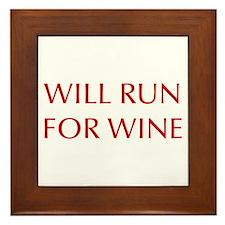 will-run-for-wine-OPT-RED Framed Tile