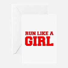 RUN-LIKE-A-GIRL-FRESH-RED Greeting Cards