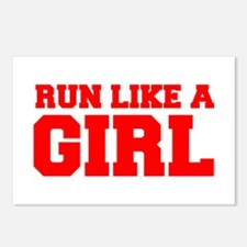 RUN-LIKE-A-GIRL-FRESH-RED Postcards (Package of 8)