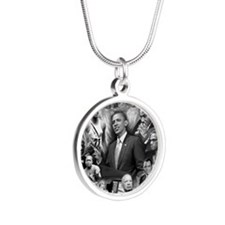 Great Black Leaders Silver Round Necklace