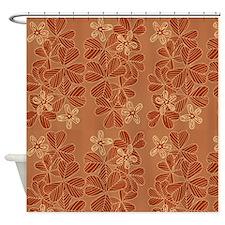 Modern Orange Flower Pattern Shower Curtain