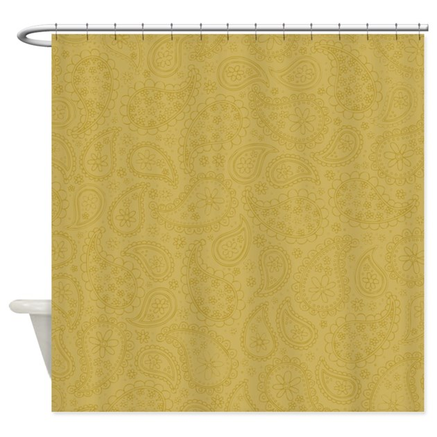tan paisley pattern shower curtain by marlodeedesignsshowercurtains