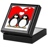 Valentine penguin Keepsake Boxes