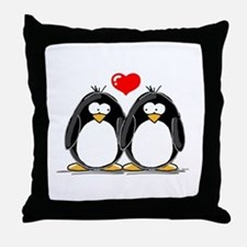 Love Penguins Throw Pillow