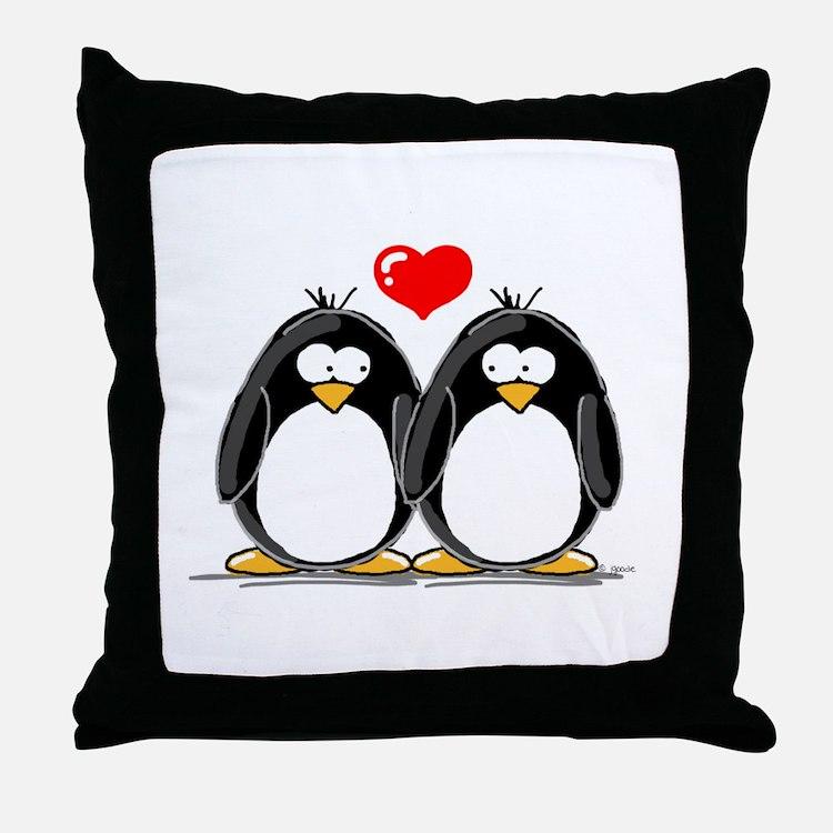 Love Penguins Throw Pillow