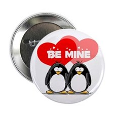 """Be Mine Penguins 2.25"""" Button (100 pack)"""