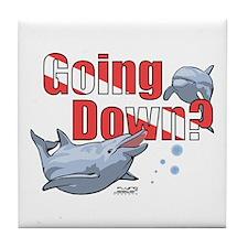 Going Down Dolphins Scuba Diving Tile Coaster