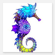"Splashy Seahorse Square Car Magnet 3"" x 3"""