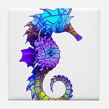 Splashy Seahorse Tile Coaster