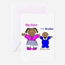 Black Big Sister and Little Brother Greeting Cards