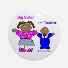 Black Big Sister and Little Brother Ornament (Roun