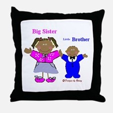 Black Big Sister and Little Brother Throw Pillow