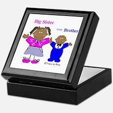 Black Big Sister and Little Brother Keepsake Box