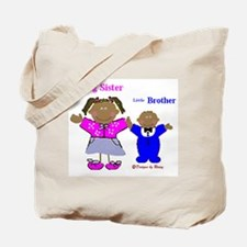Black Big Sister and Little Brother Tote Bag