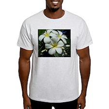 Yellow Center Plumeria Ash Grey T-Shirt