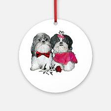 Shih Tzu Valentine Rose Ornament (Round)