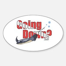 Going Down Stingray Scuba Diving Oval Decal