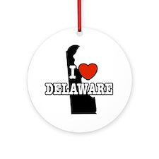I Love Delaware Ornament (Round)