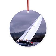 Sailing In Regatta Ornament (Round)