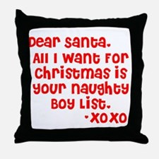 Dear Santa, Naughty Boy List Throw Pillow