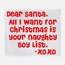 Dear Santa, Naughty Boy List Throw Blanket