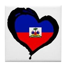 Haiti Love Heart Tile Coaster
