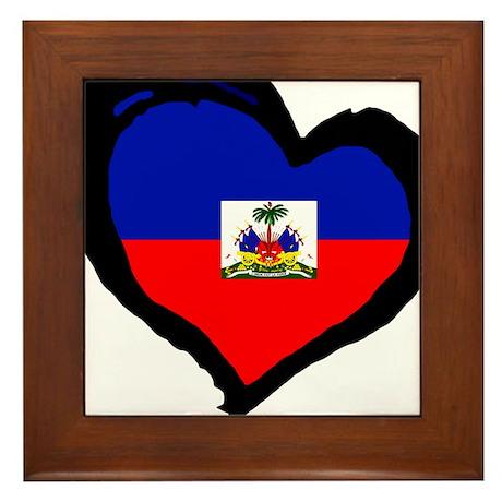 Haiti Love Heart Framed Tile