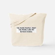 Boykin Spaniel: people I meet Tote Bag