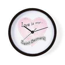 Love is my Saint Bernard Wall Clock
