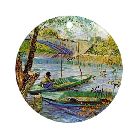 Van Gogh: Fishing in the Spring Round Ornament