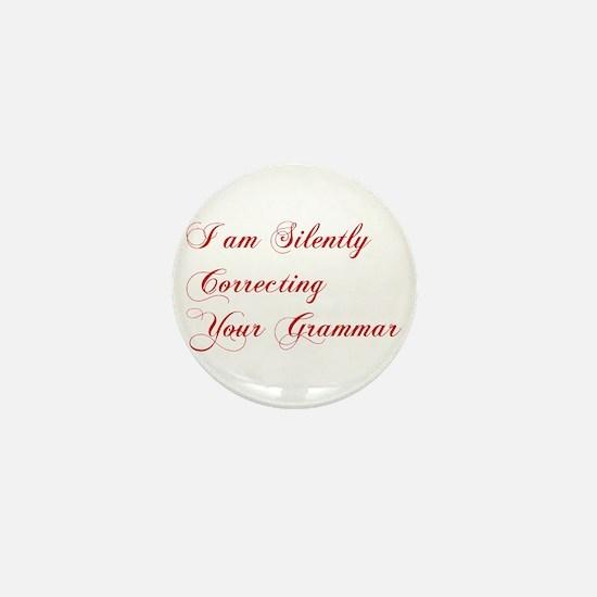 silently-correcting-grammar-cho-red Mini Button