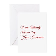silently-correcting-grammar-cho-red Greeting Cards