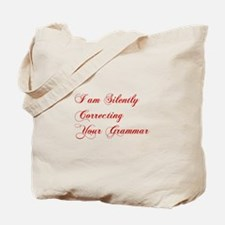 silently-correcting-grammar-cho-red Tote Bag