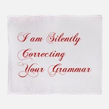 silently-correcting-grammar-cho-red Throw Blanket