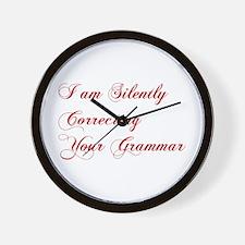 silently-correcting-grammar-cho-red Wall Clock