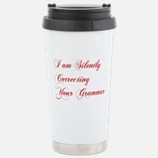 silently-correcting-grammar-cho-red Travel Mug