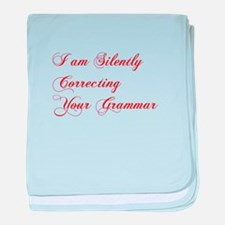 silently-correcting-grammar-cho-red baby blanket