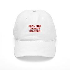 real-men-diapers-VAR-RED Baseball Baseball Cap