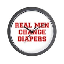 real-men-diapers-VAR-RED Wall Clock