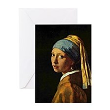 The Girl with a Pearl Earring, paint Greeting Card