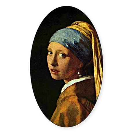 The Girl with a Pearl Earring, pain Sticker (Oval)